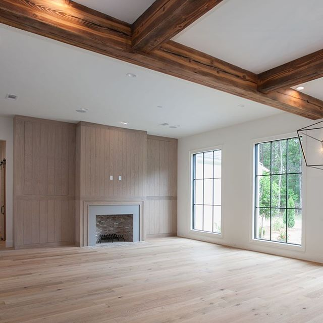 Keeping room fireplace 🔥 #porticohomes #homes #design #whiteoak #fireplace #cabinets