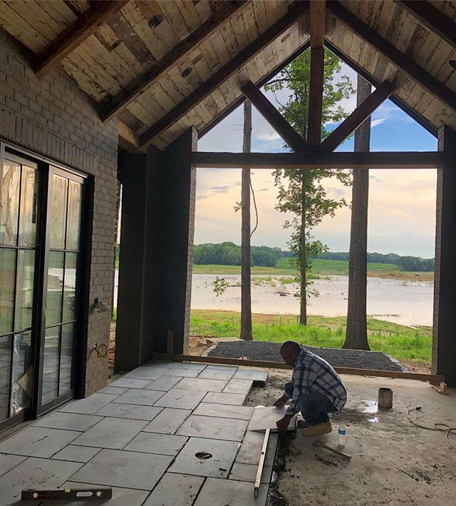 That moment when it starts coming together. 💯 #porticohomes #lake #porch #liveaction #memorialdayweekend #cottagestyle