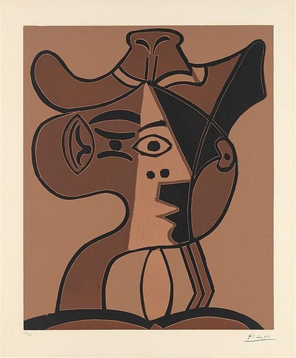 PABLO PICASSO    Grande Tete de Femme au Chapeau , 1962 Linoleum cut 25 x 21 inches Edition: 50