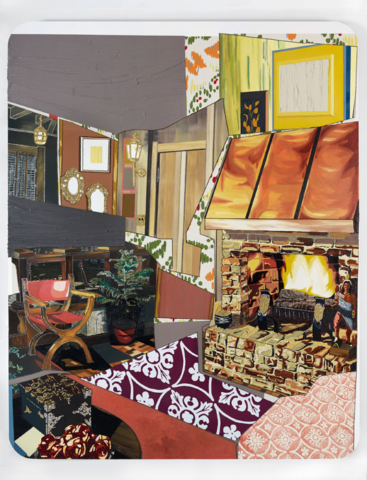 MICKALENE THOMAS    Interior: Fireplace with Monet Tiles , 2012 Rhinestones, acrylic, oil, and enamel on wood panel 120 x 96 inches