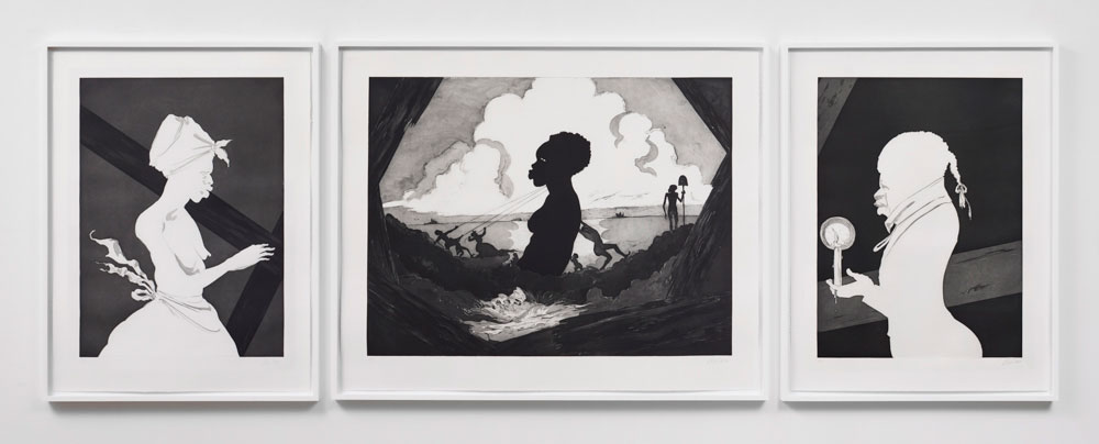 KARA WALKER    Resurrection Story with Patrons , 2017 Etching with aquatint, sugar-lift, spit-bite and dry-point 39.75 x 109 inches Edition: 25