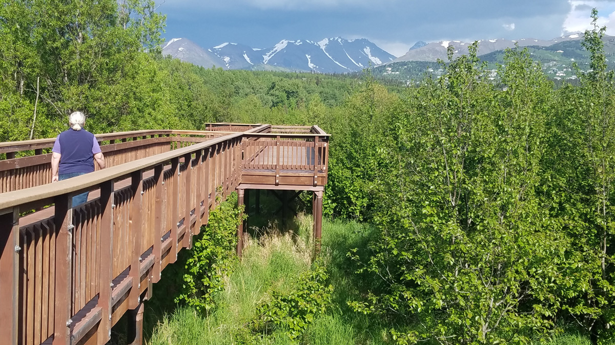 Potter Marsh Boardwalk and mountains