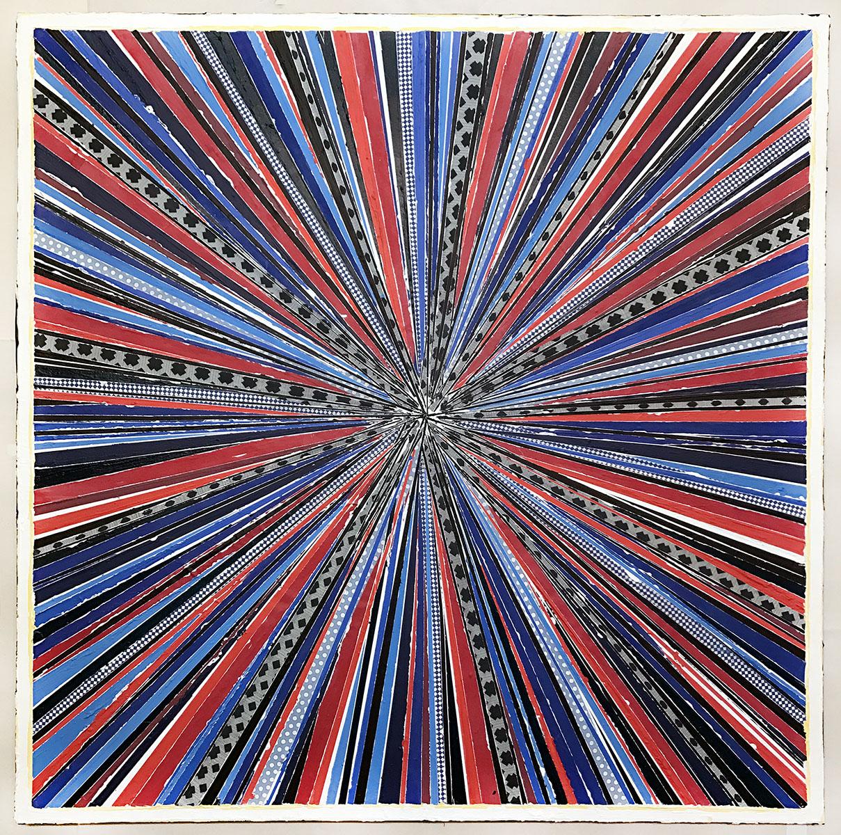 "Above image:  L. Mylott Manning,  Stargate: Superstring 22 , 2017, fabric, paint, thread, Reiki energy, 36"" x 36"""