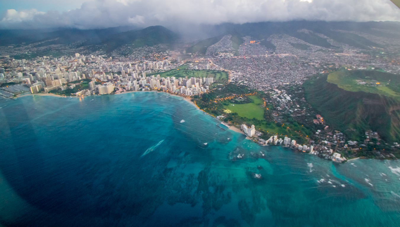 A view of Honolulu as I travel to the neighboring island of Molokai
