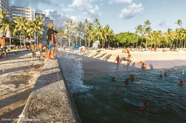 Kids playing at Waikiki Walls