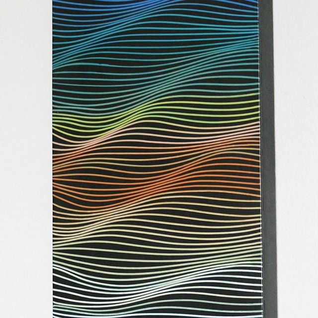 Good Deal Alert! 👉 https://goo.gl/yc7Vme This multi colored line painting requires a bit of skills and practice, and it's a very complicated long story to tell you how. This rainbow-ish painting measures 1 feet by 4 feet, fits in a tall and narrow space you didn't quite know how to fill. Made in 2012 ❤️🧡💛💚💙💜🖤