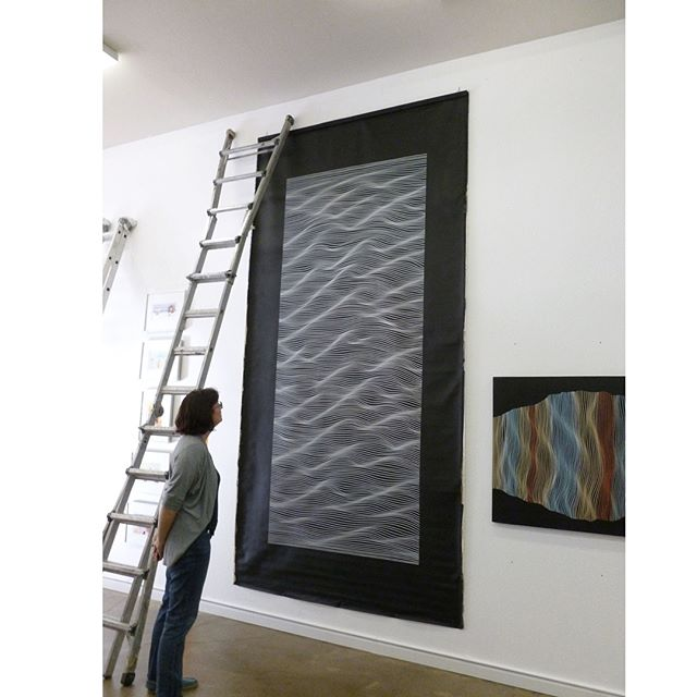 This large painting produced in 2013 on canvas is availablee ....if you have a huge wall somewhere. Well, it's not that huge; It's only 12 feet x 6 feet. It can be displayed vertically or horizontally. Extra black edges are for stretching purposes but you can leave it as is. It's possible to hang it vertically with hanging scroll style with sticks on top and bottom. For more info or order it here 👉 https://goo.gl/dRp7V3 👈