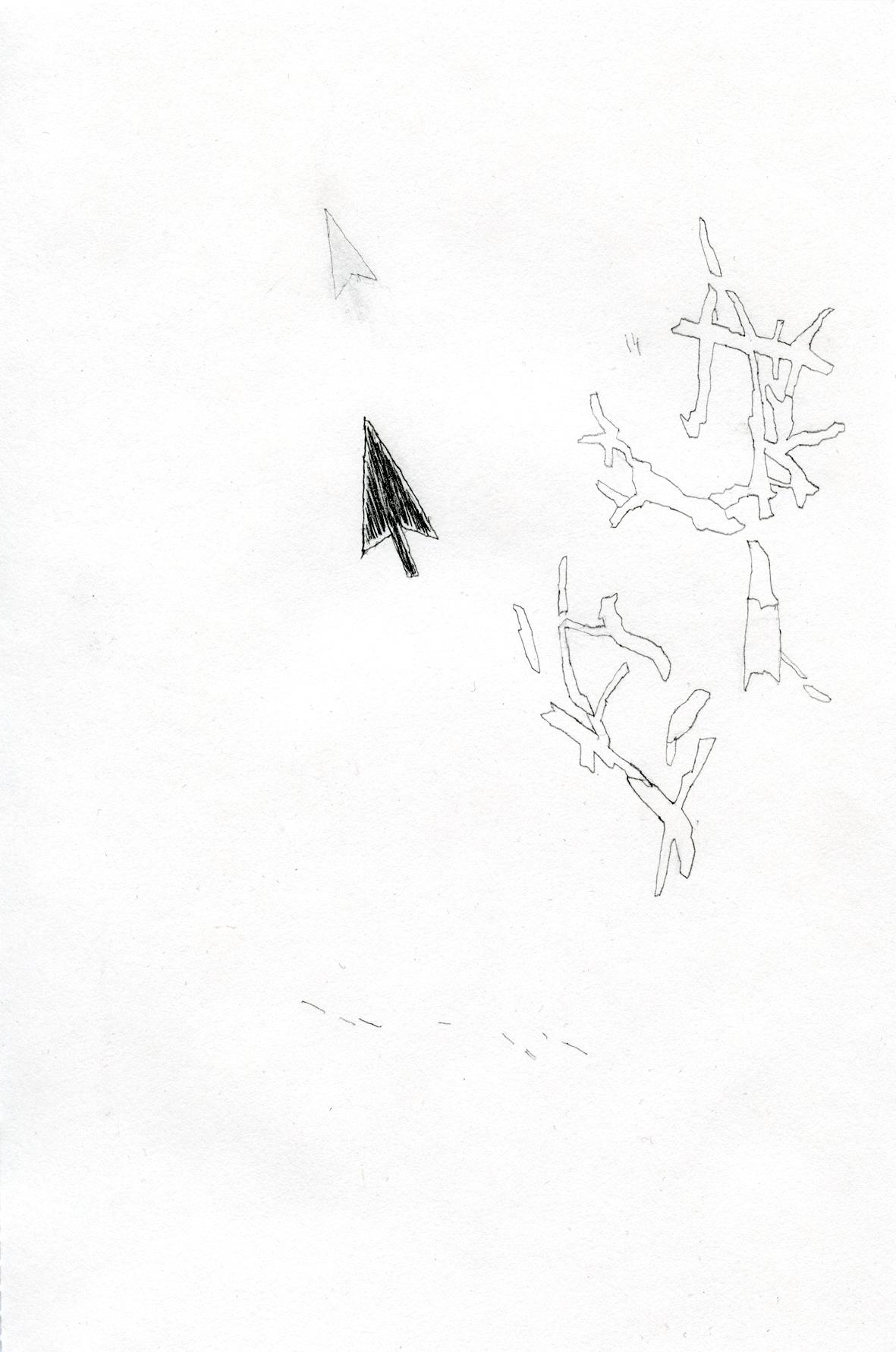 interim/screen  pencil on paper, 14 x 21 cm