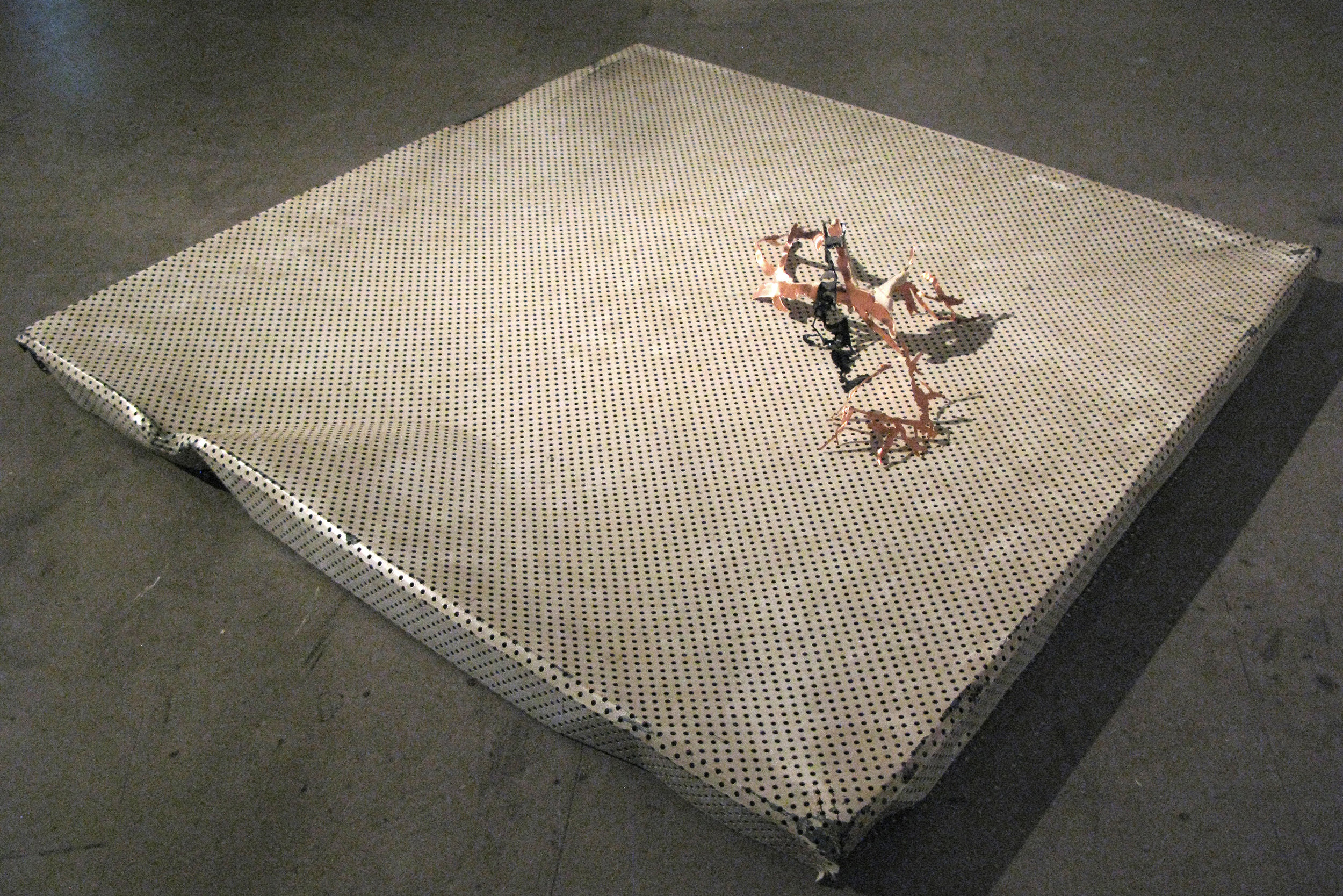when to stop talking  copper, paint and aluminium 82 x 82 x 16cm