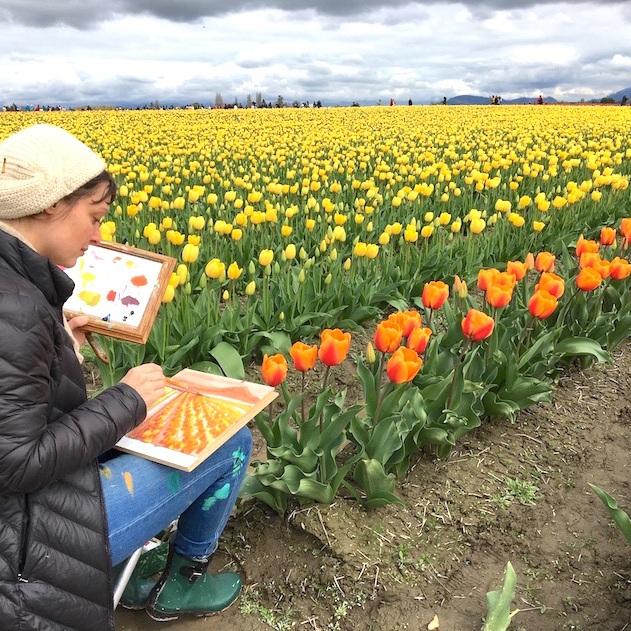 Plein Air Painting Tulip Fields