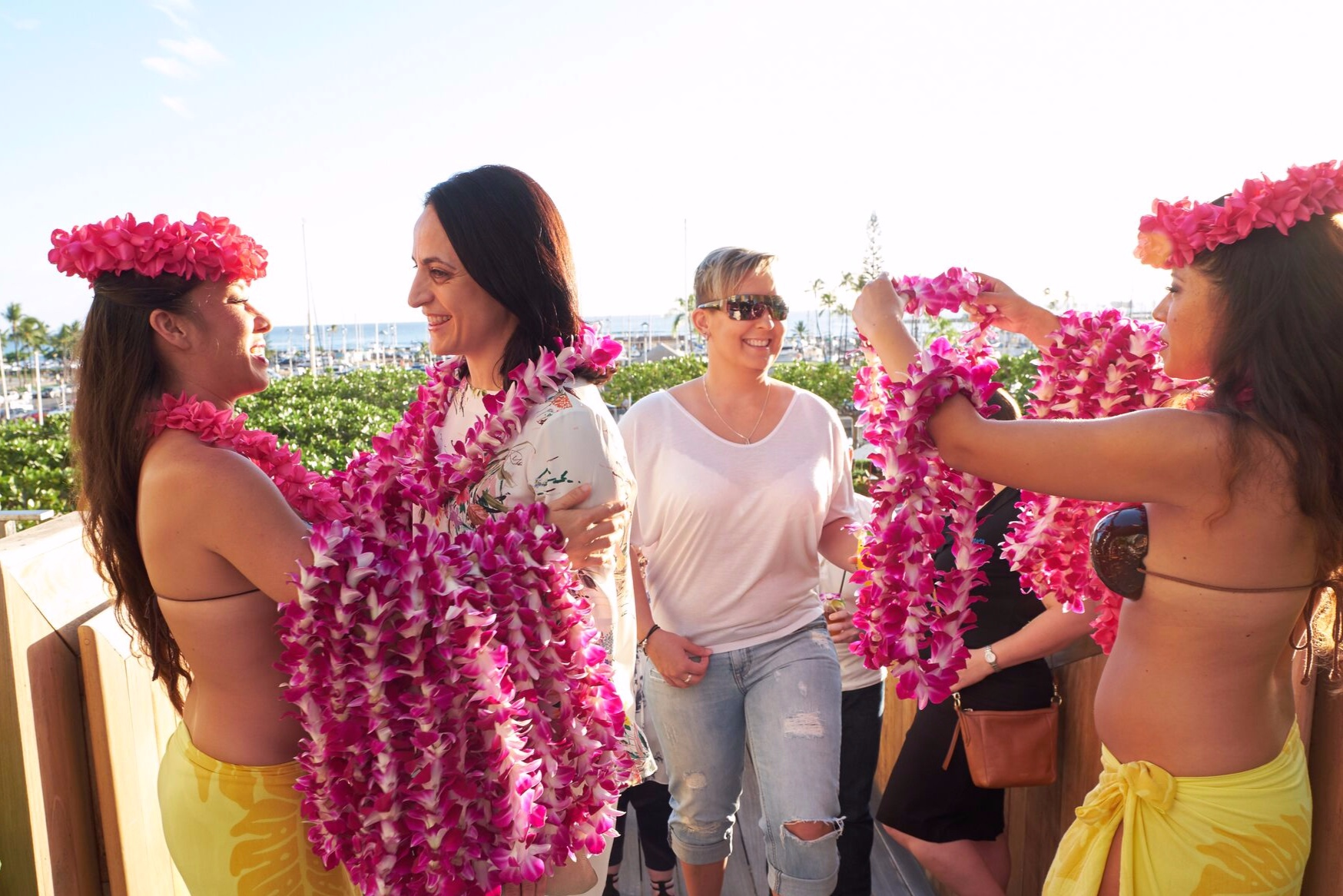 Welcome Lei for an incentive group arriving in Waikiki, Hawaii.