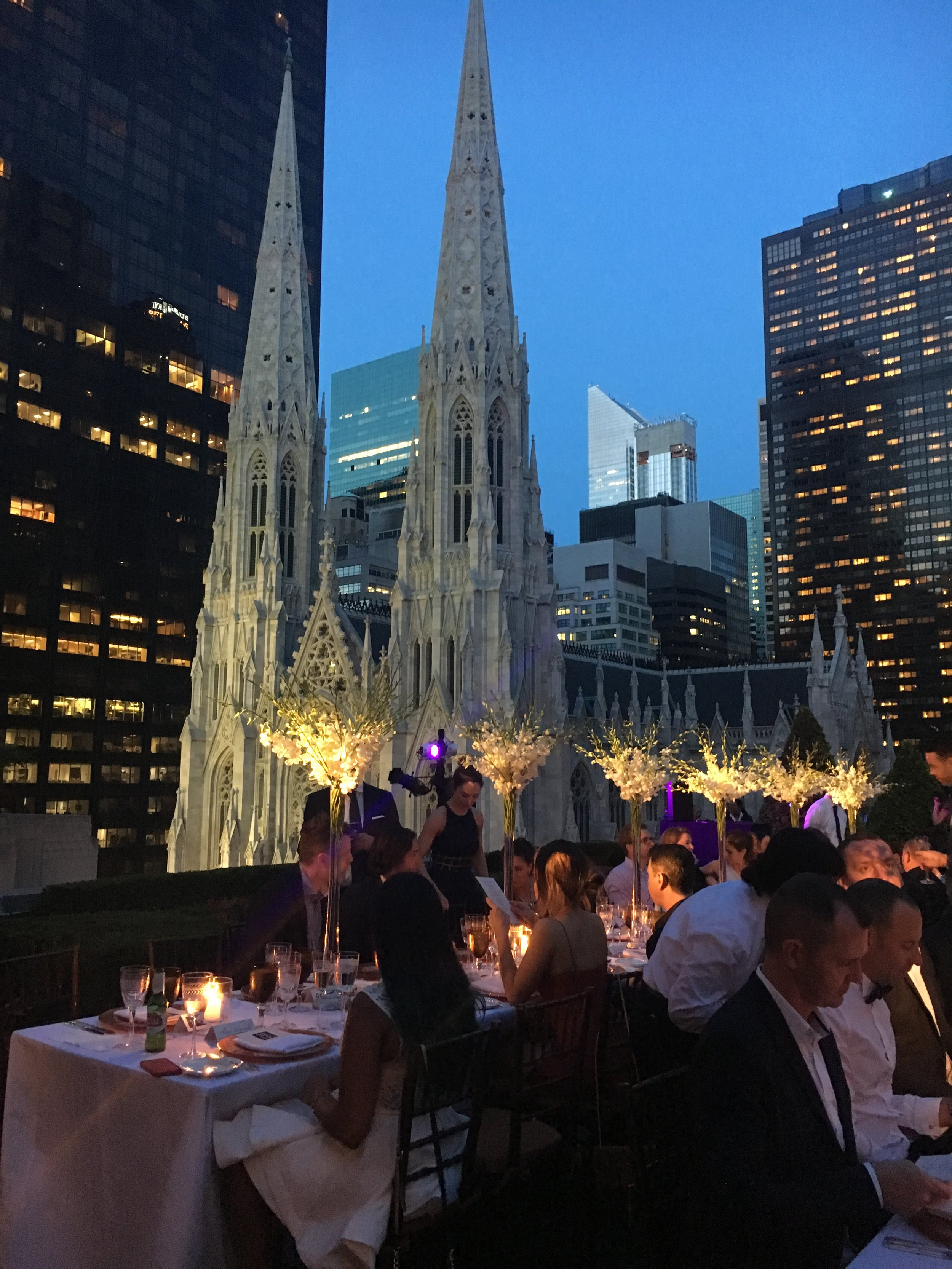 Private dinner on a rooftop in New York.