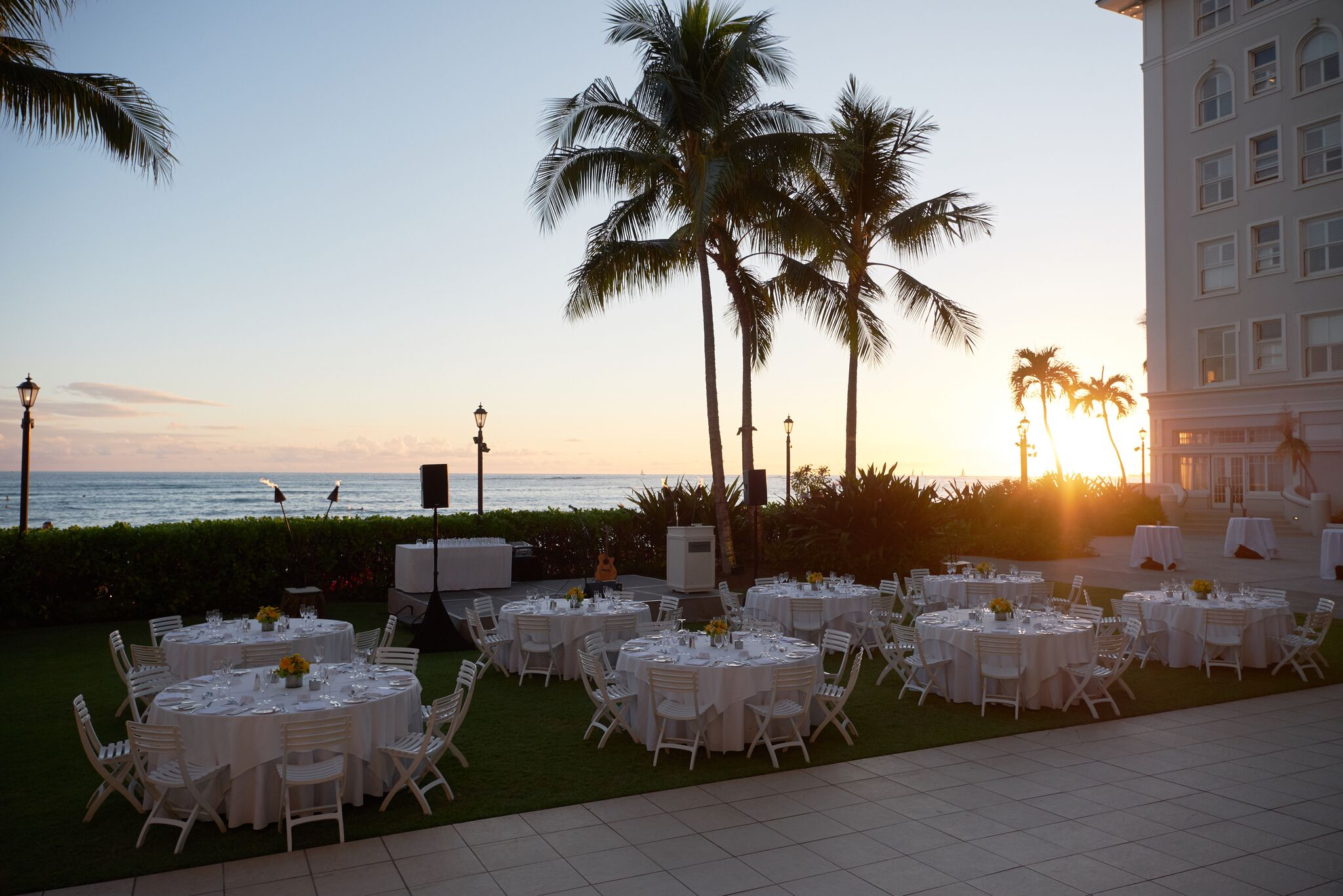 Sunset Dinner set for guests in Waikiki, Oahu.