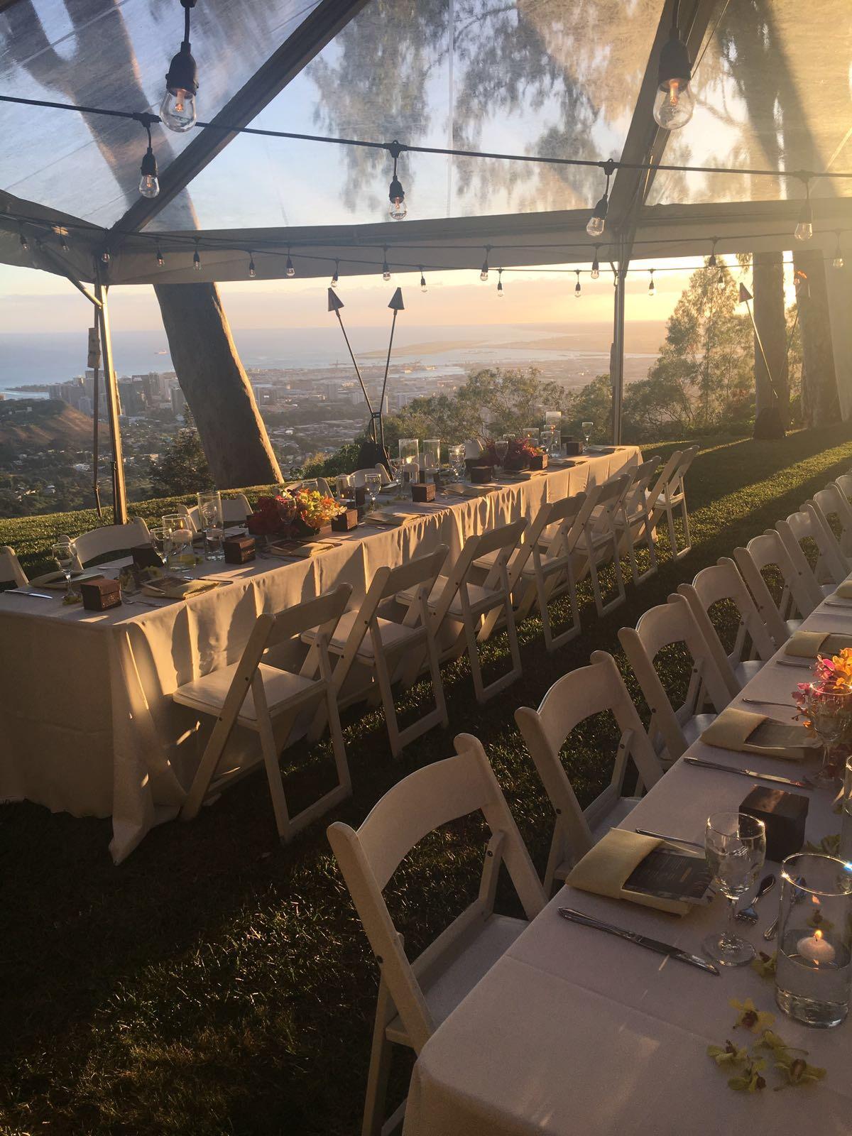 Dinner at sunset overlooking Honolulu and Waikiki.