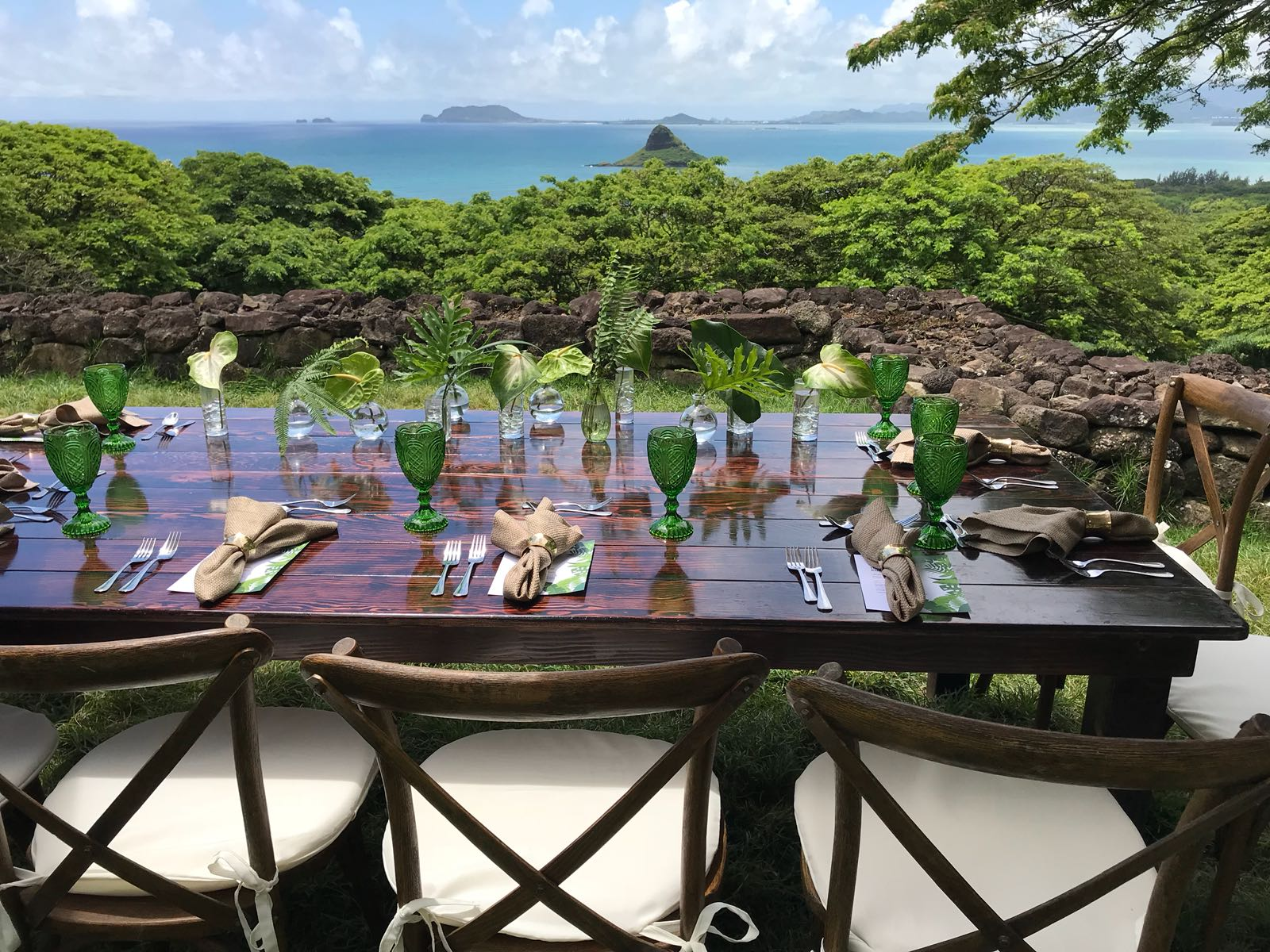 A private group lunch on the island of Oahu.