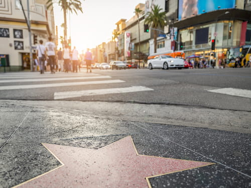 Walk of Fame at sunset on Hollywood Blvd
