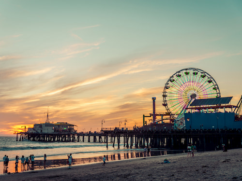 Santa Monica pier at sunset in Los Angeles