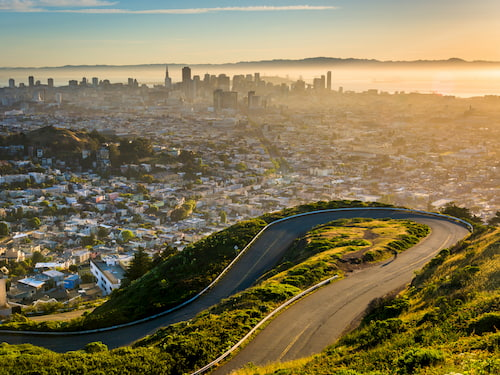 View of downtown San Francisco at sunset