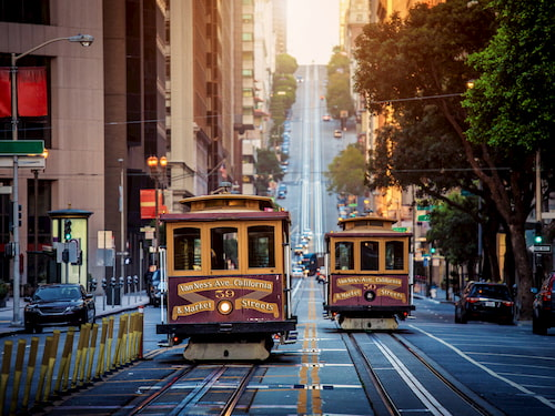 Classic view of historic traditional cable cars
