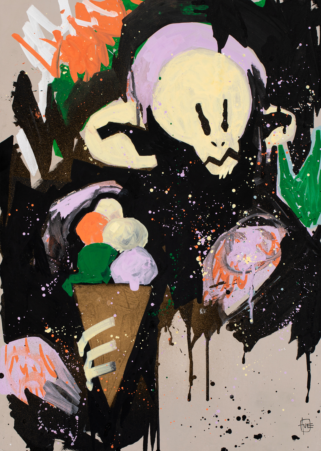 """"""" Cosmic Cone""""  - An expressionistic wild man cooling off in the cosmic jungle!  A 100% freestyle piece made with acrylic markers and spray on board."""