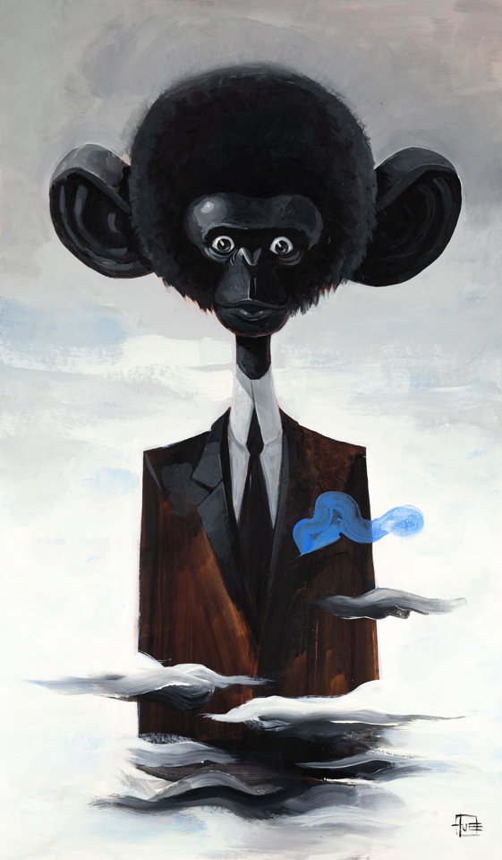 """MONKEY IN THE SKY WITH SOMETHING""  Acrylic on cardboard / Akryl på bogbinderpap  70x42 cm  4.000 kr."