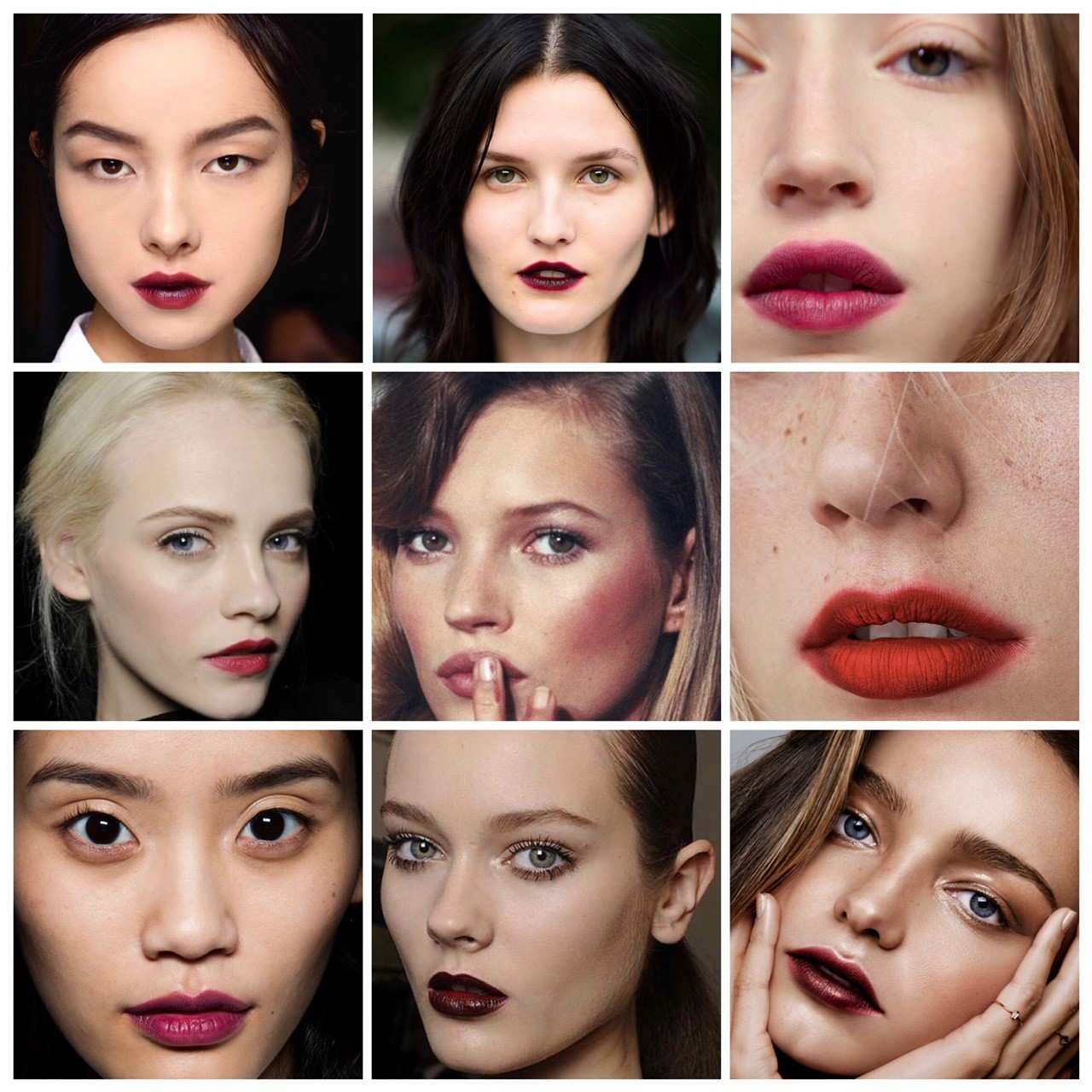 Images (left to right): Fei Fei Sun, Lanvin, FW 2013 / image unknown/ Glossier / Ginta Lapina, Pat McGrath for Dolce & Gabbana, A/W 2010/ Kate Moss / image unknown /  image unknown / i,age unknown / Miranda Kerr, Glamour, 2015.