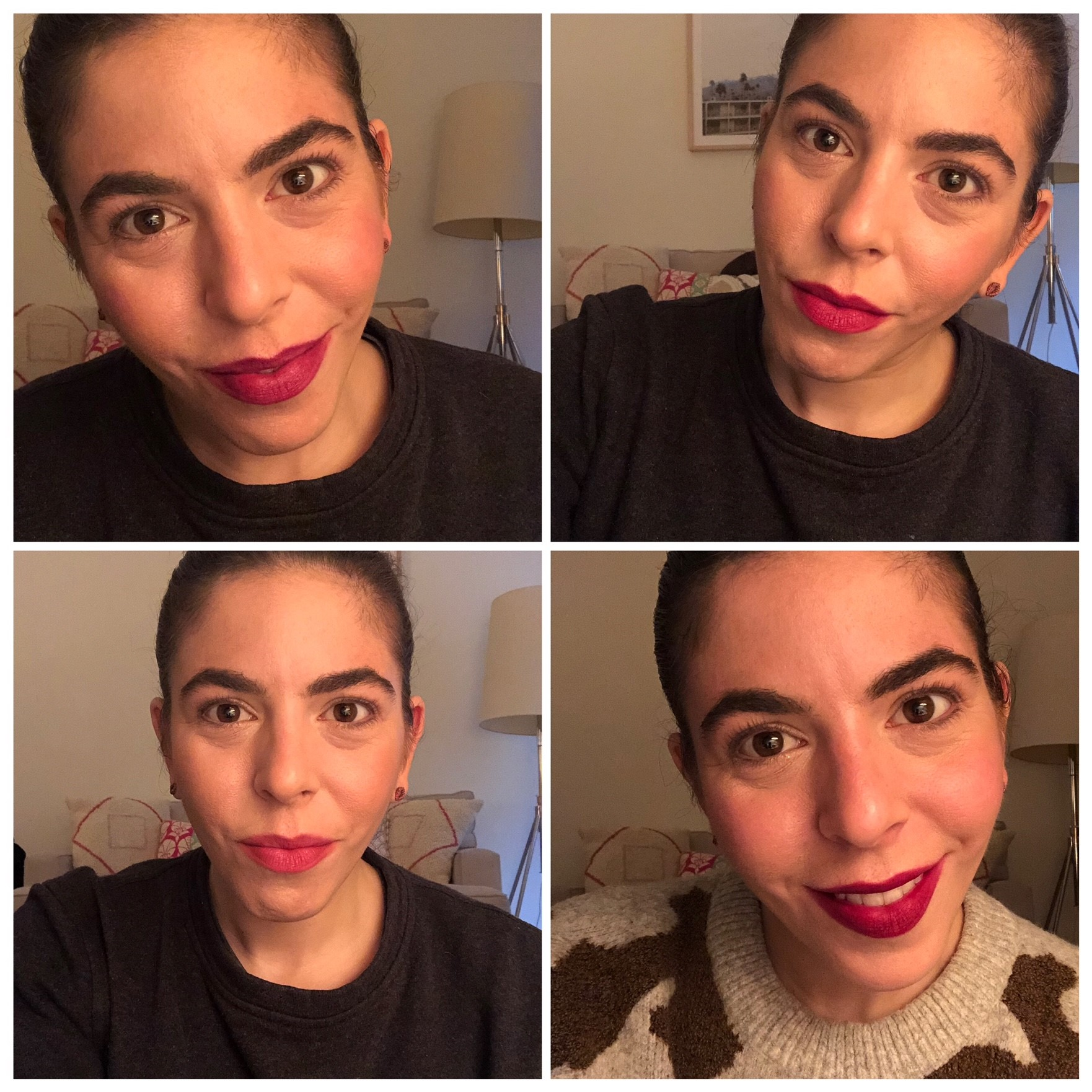 Wearing (clockwise from top left): Charlotte Tilbury Matte Revolution in Glastonberry, Nudestix Intense Matte Lip + Cheek Pencil in Raven, Bobbi Brown Art Stick in Cassis and Tom Ford Lip Color Matte in Black Dahlia.