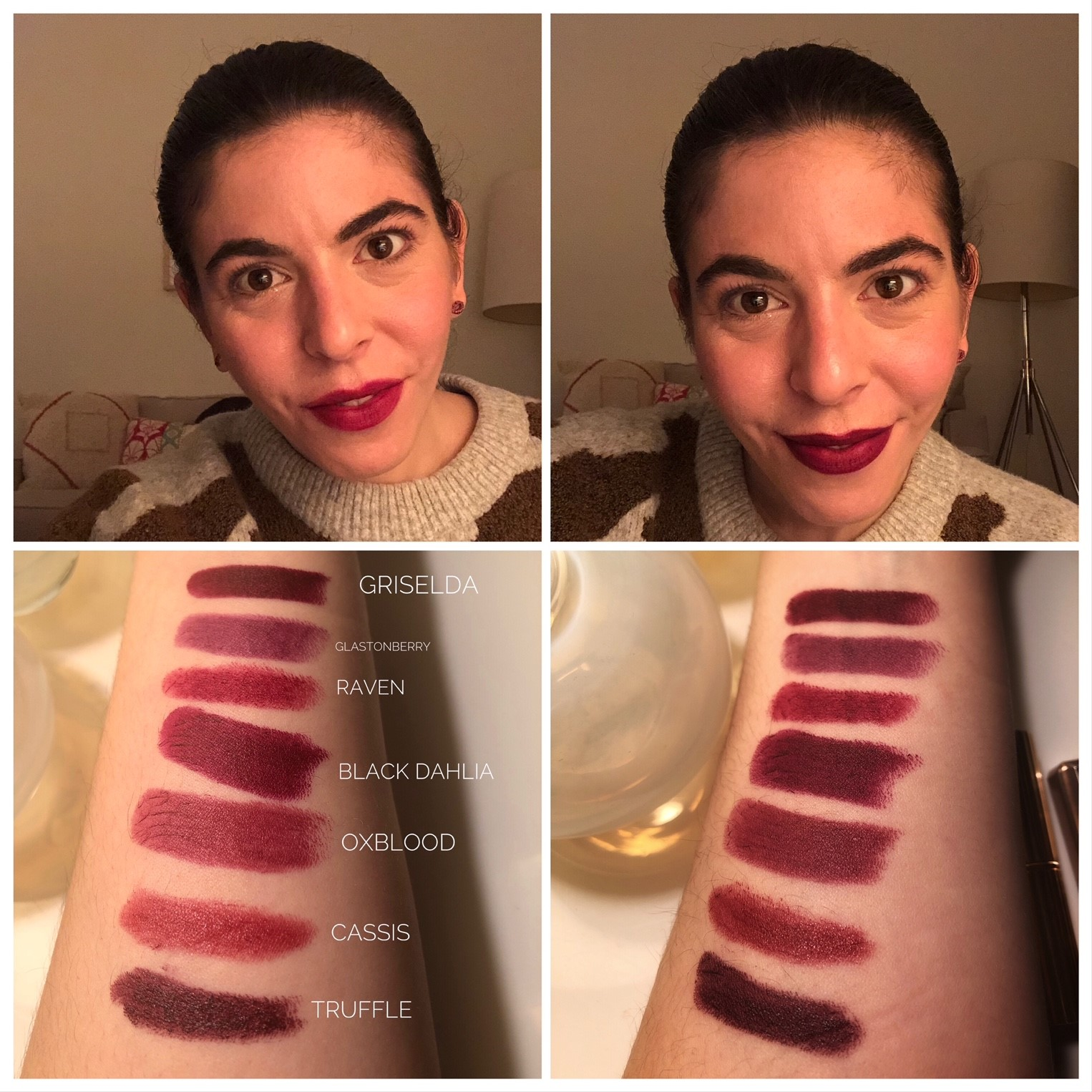 Clockwise from top left: Burberry Lip Velvet in No. 37 Oxblood, Bite Beauty Matte Creme Lip Crayon in Black Truffle, Swatches.