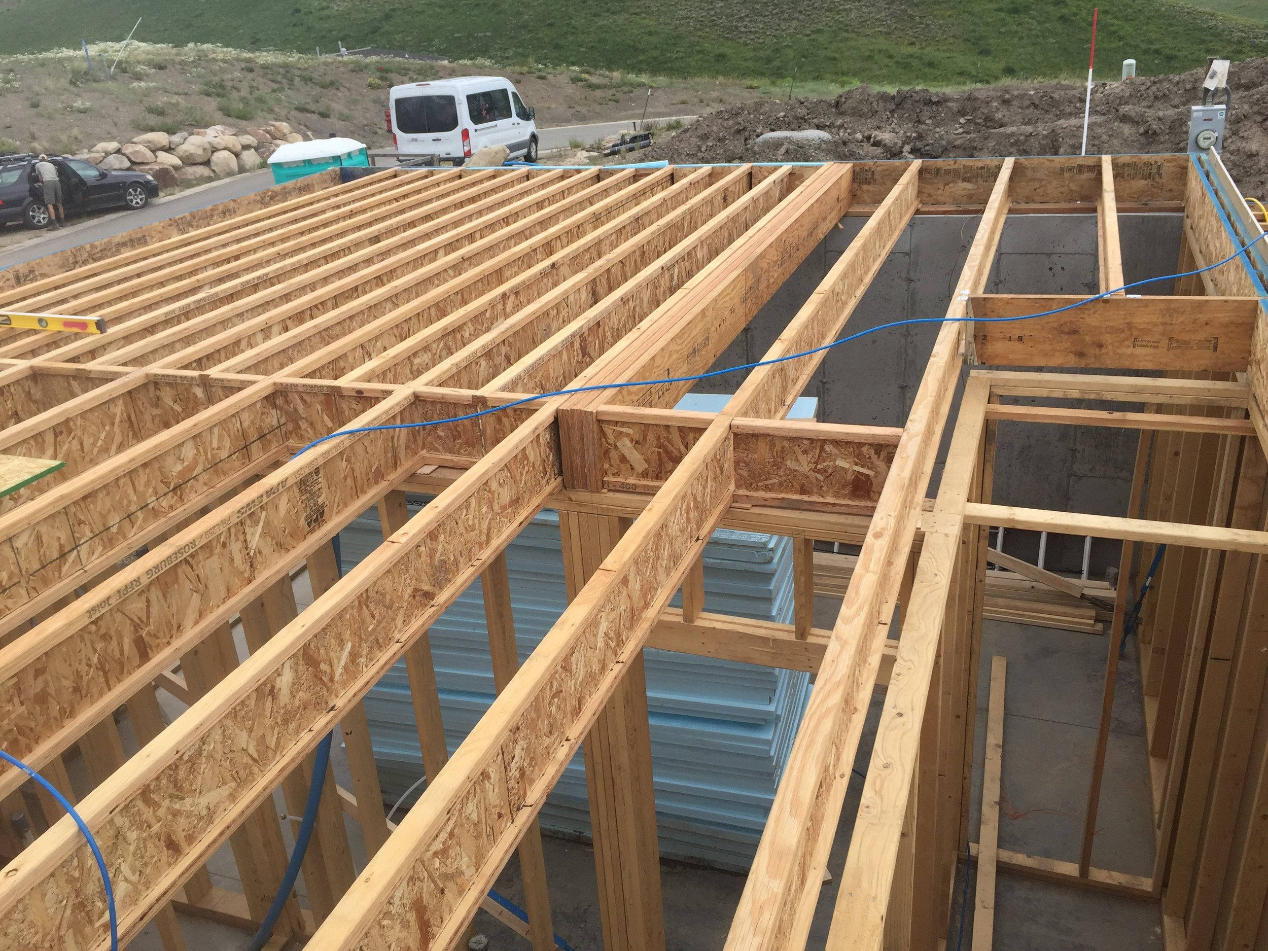 These are the eye joists, you can see at the very end of them they are connected to the rim joist. Also note the blocking in between them.