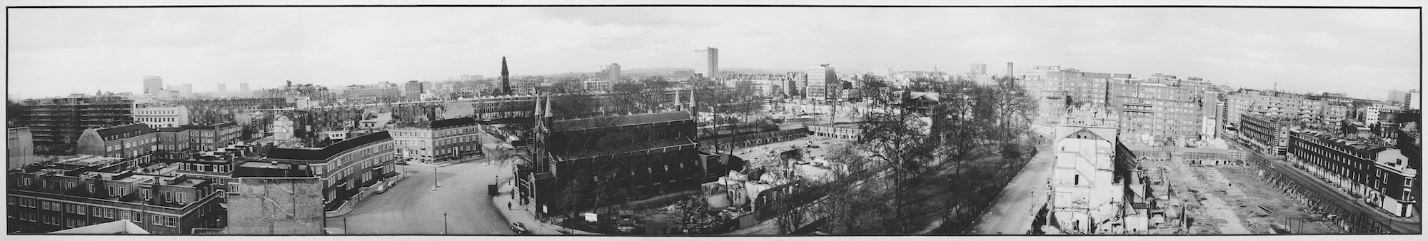 Panoramic photo of St John's and the parish in the 1960s