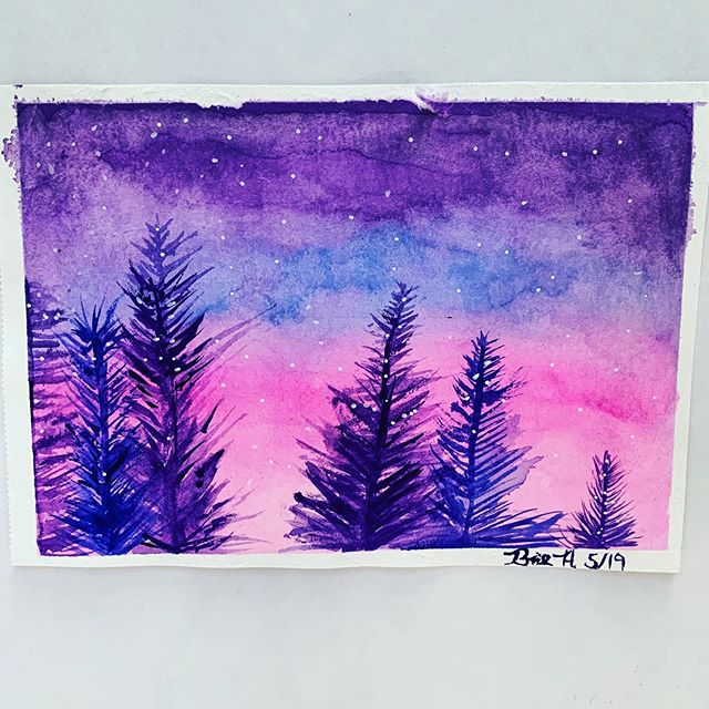 For the past few weeks I've been exploring watercolors for the first time. Again I'm teaching myself a few techniques with @skillshare.  After a few beginners classes I used wet and on wet technique to create to the sky and after a bit of drying to create a light layer of trees. I finished the trees with a smaller brush and opaque colors.  #skillshare #watercolorpainting #watercolorlandscape  #watercolorartist #artstagram