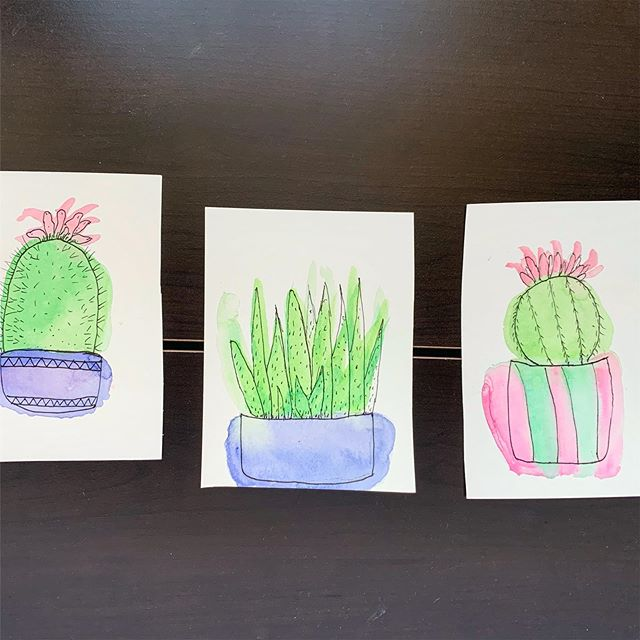 2 of 7. I almost forgot to post for the day. Not on my watch. Refreshing my drawing skills by exploring cacti and succulents again.