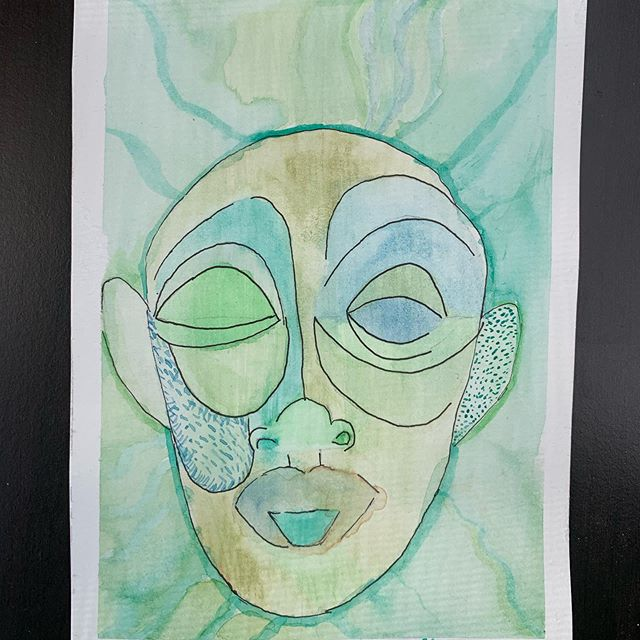 Definitely continuing an exploration of faces and watercolor. I attempted to recreate a graphic from a program. Again there is violence depending on how literal you take the eyes, but also a playful peace. It also feels like a mask. The mask of resilient peace. #abstractwatercolor