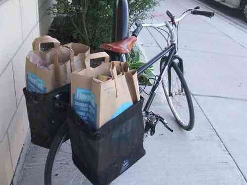 Grocery panniers in action
