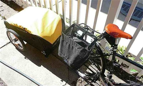 Burly Nomad Trailer ($339) with grocery pannier.