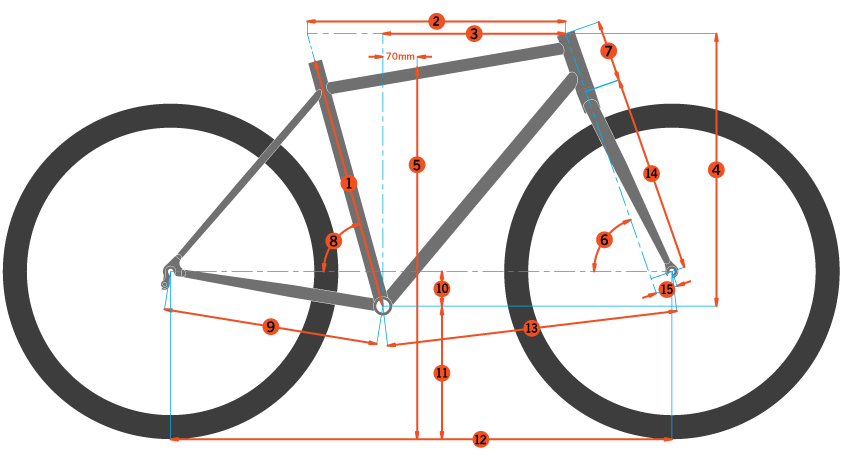 Typical frame geometry diagram from a bicycle manufacturer's catalog
