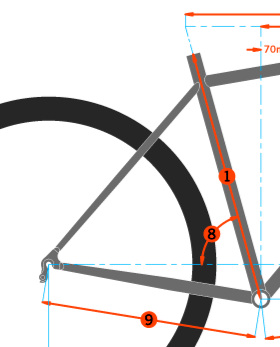 The length of tube #1 in the above diagram is also the size of the bike frame.