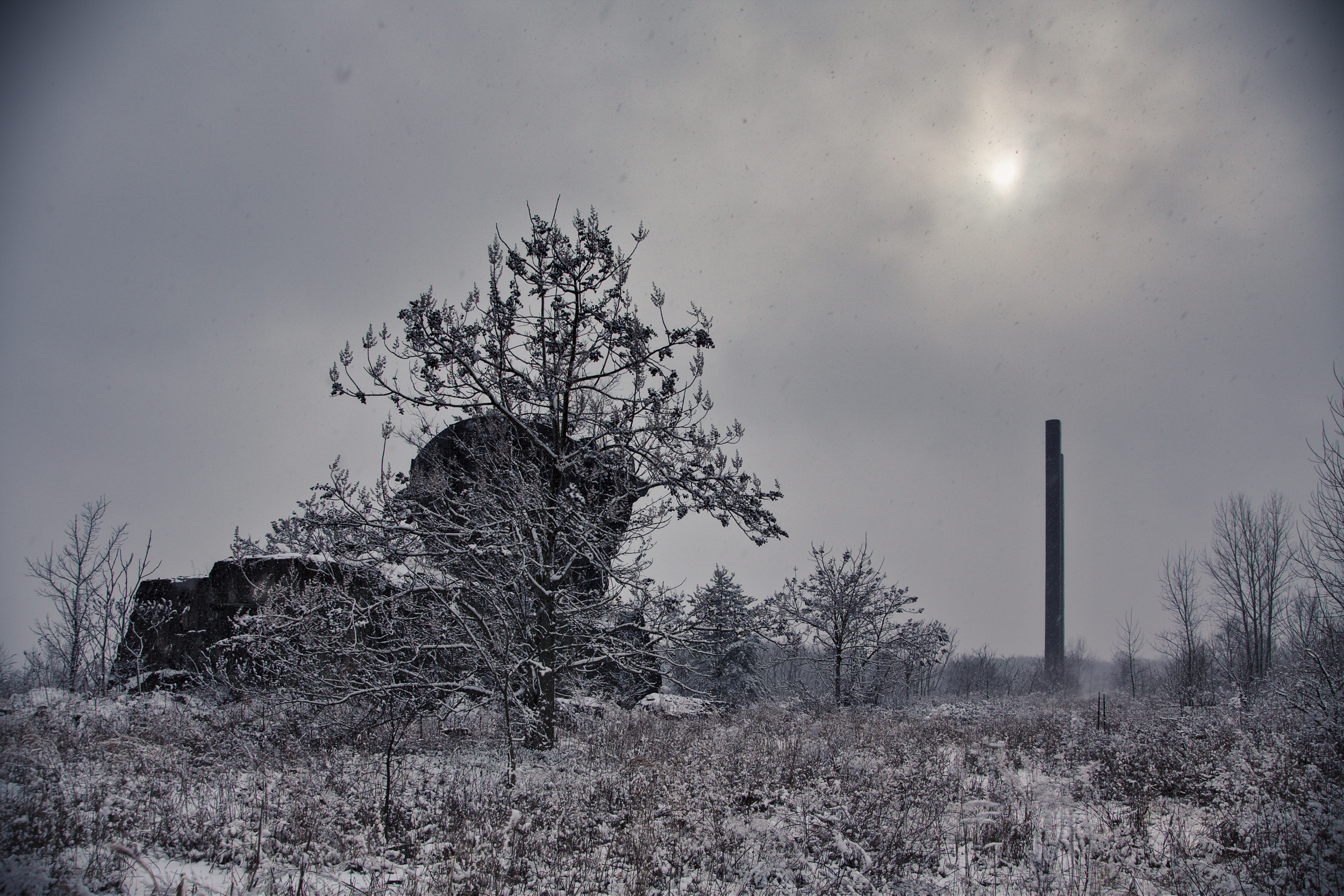 Mixer ruins in the snow.