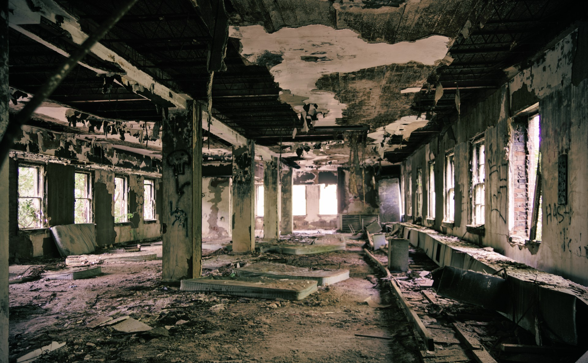 Charred interior of the Asylum.