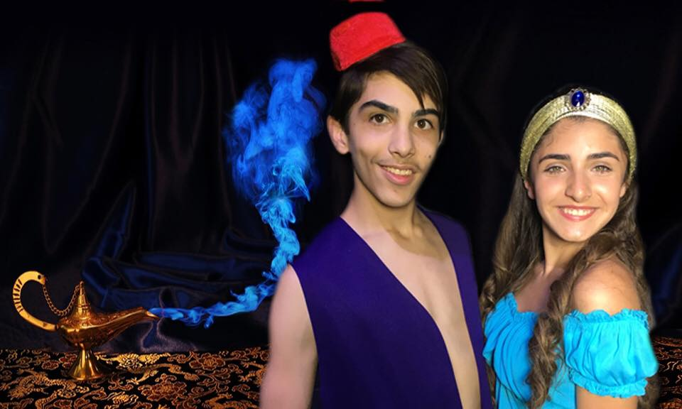 Aiden Castillo and Jaeden Riley Juarez in  Aladdin: the Spectacular Dual Language Musical  at the Roxie Theatre