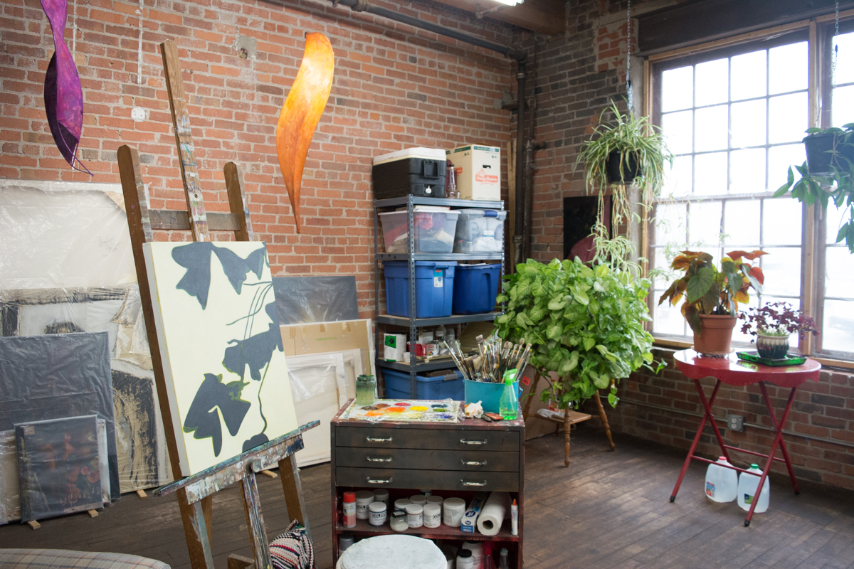 Many plants hang in Steph's studio right beside the huge windows in The Mill. Her plants often show up abstracted in her paintings.