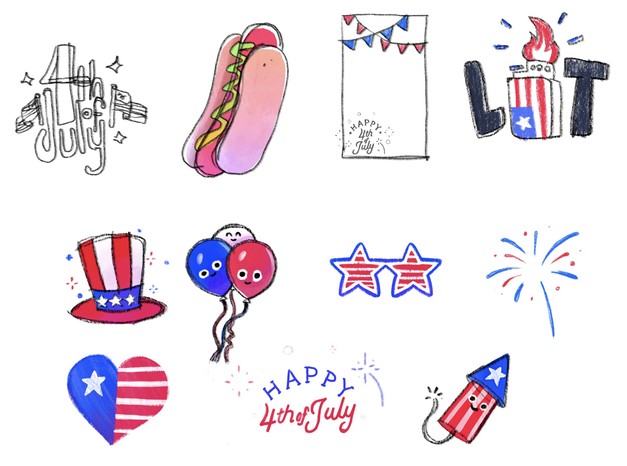 First sticker ideas I created on iPad Pro.