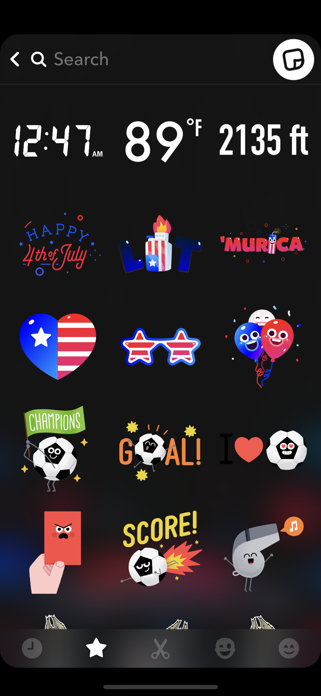 Screenshot shows stickers on the Snapchat's sticker tray