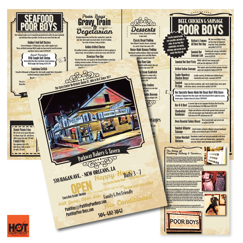 Carryout Menu Design • Parkway Bakery & Tavern • New Orleans