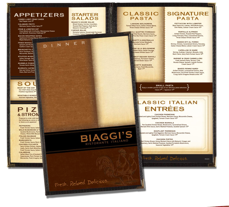 Biaggi's After Menu Design