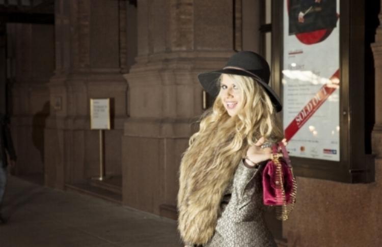 Velvet Handbag by   Kalamarie Handbags  , Jacquard Blazer by   Serrano  , Hat by Rag &Bone