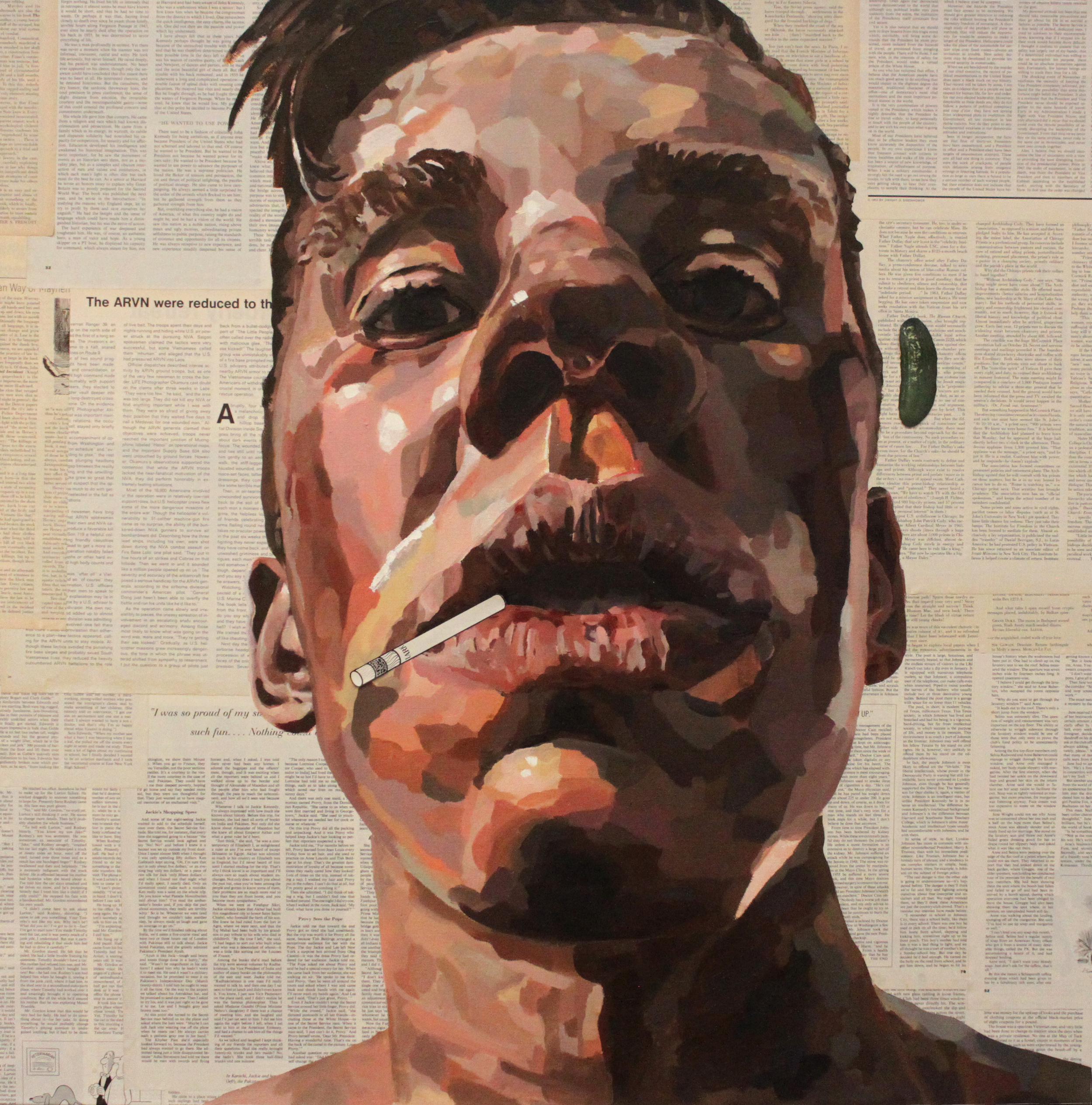 Self-portrait (with cigarette) - 2014 Oil on canvass with paper collage