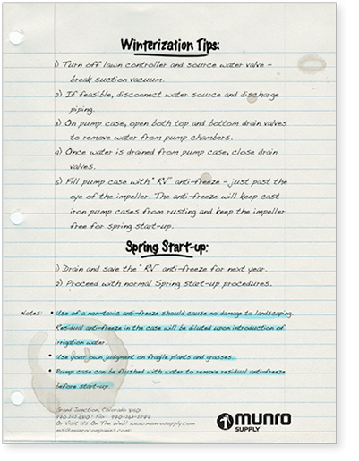 PUMP WINTERIZATION TIPS