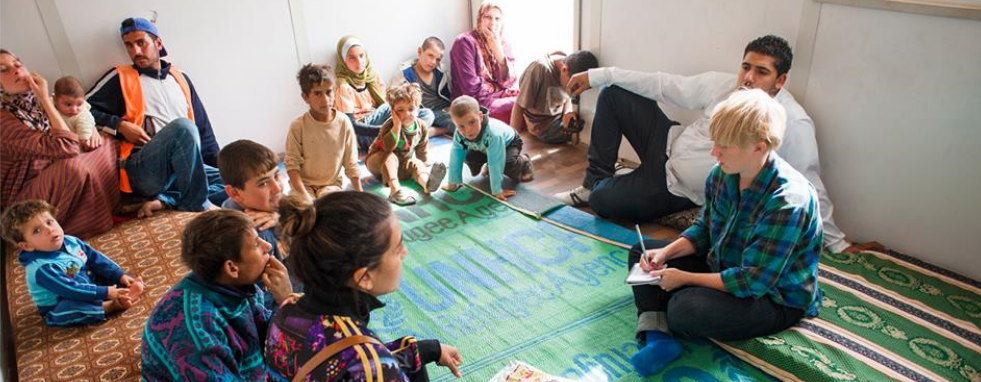 Reporting from the Zaatari refugee camp in Jordan, 2013. Photo: Martin Edström