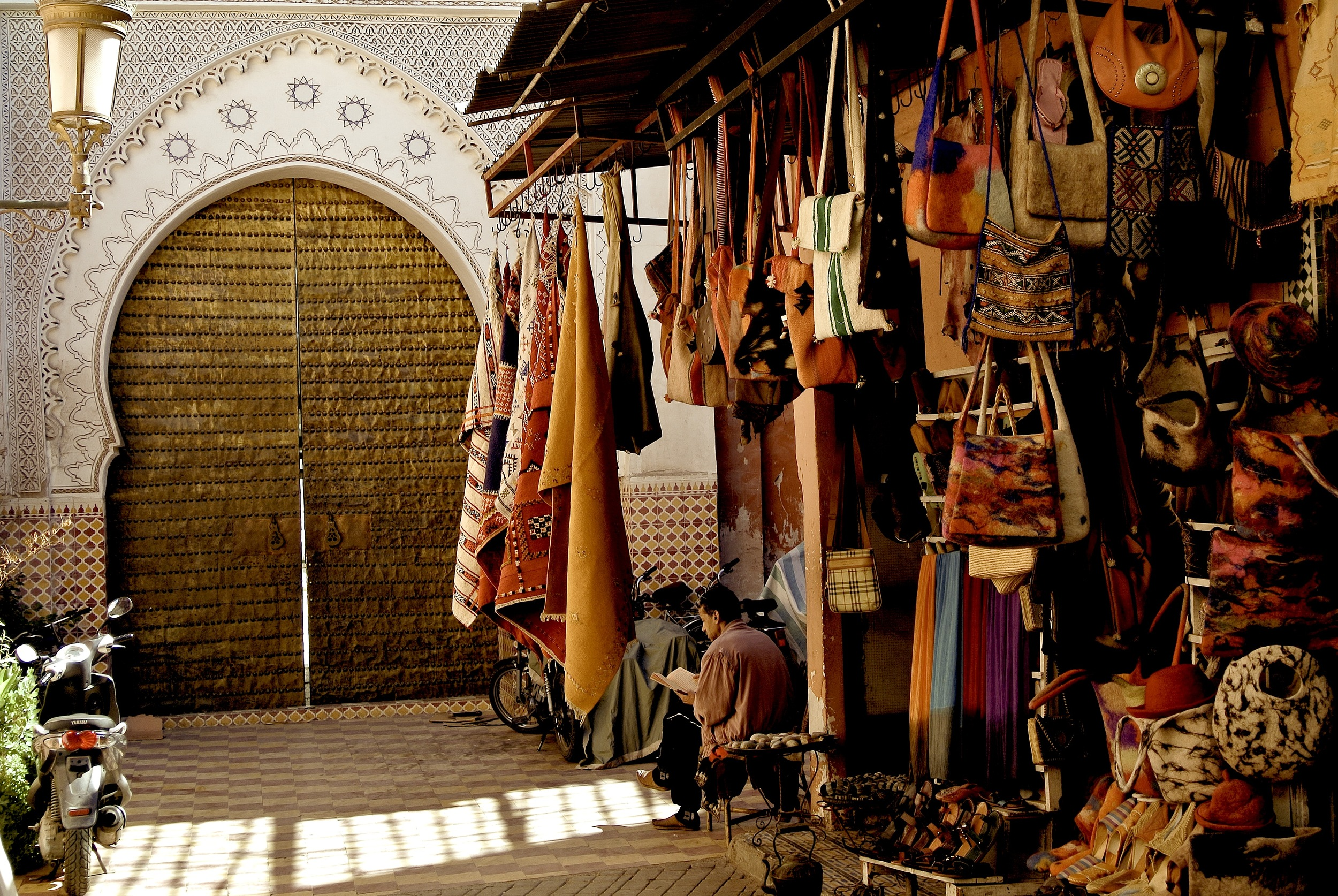 The souk in Marrakesh, Morocco is just off of the large square in the media, Jemaa el-Fnaa.